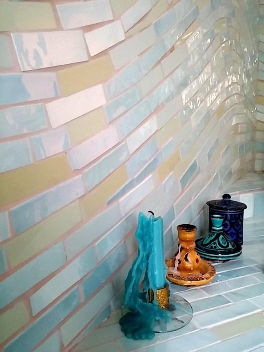bagno di mosaico di piastrelle